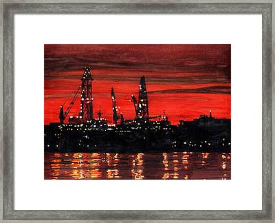 Oil Rigs Night Construction Portland Harbor Framed Print