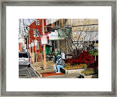 Oil Stains And Red Nandina Framed Print by Thomas Akers