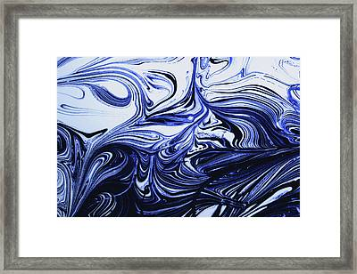 Oil Swirl Blue Droplets Abstract I Framed Print