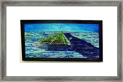 Oil Tanker Island Framed Print by Samuel Miller