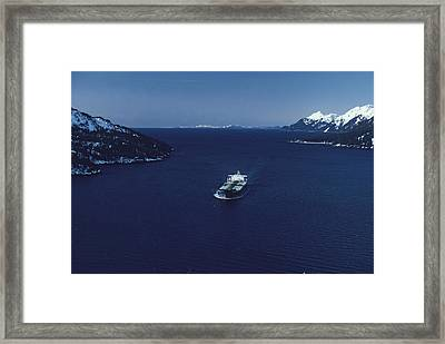 Oil Tanker Passes Through Valdez Framed Print by George F. Herben