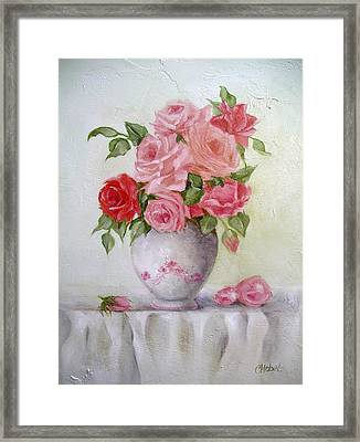 Oil Vase Rose Framed Print