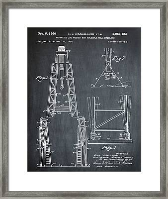 Oil Well Patent 1960 Chalk Framed Print by Bill Cannon