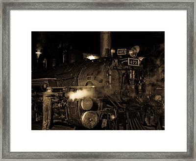 Oiling The Rods Framed Print by Patrick  Flynn