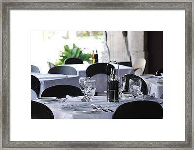 Framed Print featuring the photograph Oils And Glass At Dinner by Rob Hans