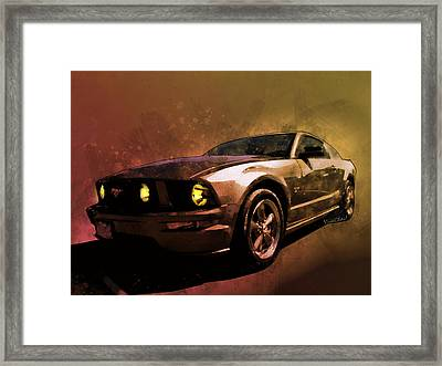 Oily Mustanger Slipping Into Darkness Watercolour Framed Print