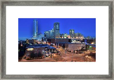Okc Blue Panorama Framed Print by Frozen in Time Fine Art Photography