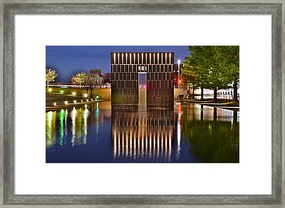 Okc Bombing Memorial Pool Framed Print by Frozen in Time Fine Art Photography