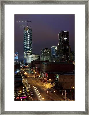Okc Evening Framed Print by Ricky Barnard