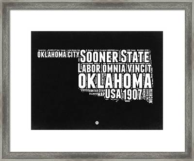 Oklahoma Black And White Map Framed Print