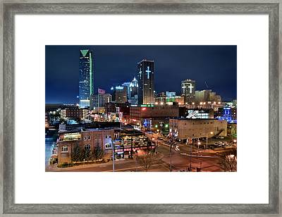 Oklahoma City Night Framed Print by Frozen in Time Fine Art Photography