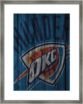 Oklahoma City Thunder Wood Fence Framed Print by Joe Hamilton