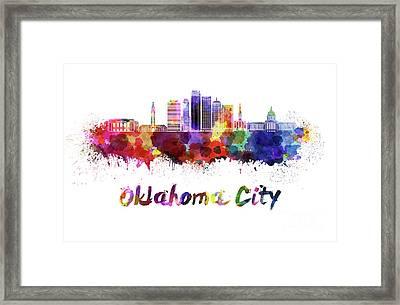 Oklahoma City V2 Skyline In Watercolor Framed Print