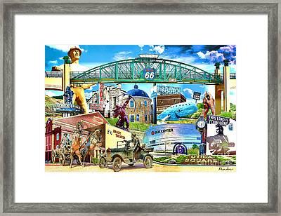 Oklahoma Collage Crayon Version Framed Print