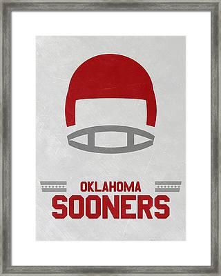 Oklahoma Sooners Vintage Football Art Framed Print by Joe Hamilton