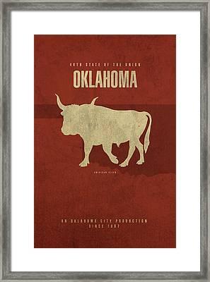Oklahoma State Facts Minimalist Movie Poster Art Framed Print