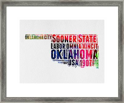Oklahoma Watercolor Word Cloud  Framed Print