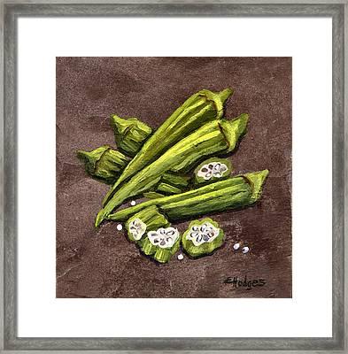 Okra Framed Print by Elaine Hodges