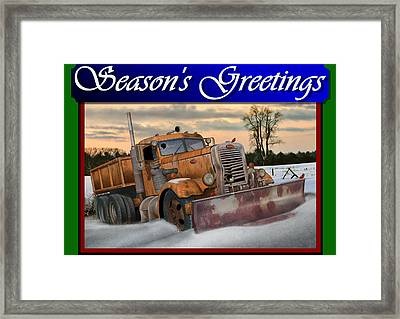Ol' Pete Snowplow Christmas Card Framed Print by Stuart Swartz