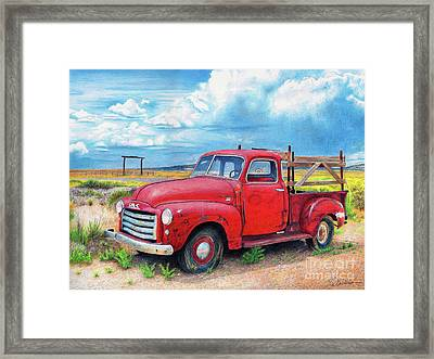 Ol' Red Framed Print by Rhonda Dicksion