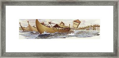 Olaf Of Norway Pulls Down The Supports Of London Bridge Framed Print by Pat Nicolle