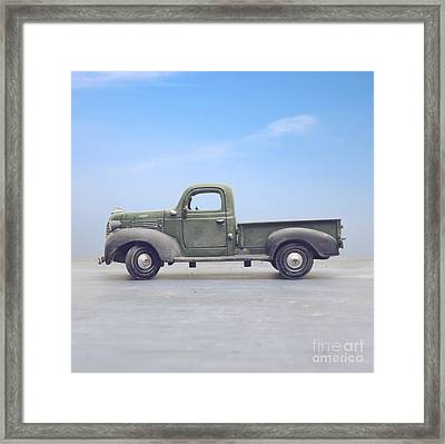 Old 1940s Plymouth Green Truck Framed Print by Edward Fielding
