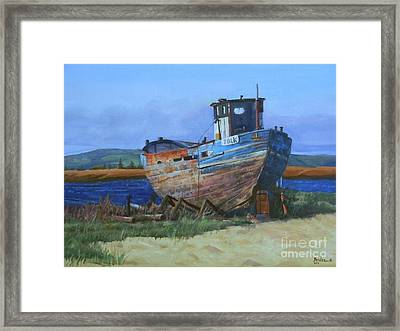 Framed Print featuring the painting Old Abandoned Boat by Noe Peralez