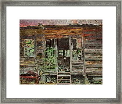 Old Abandoned House - Ghost Dogs Trotting Framed Print by Rebecca Korpita