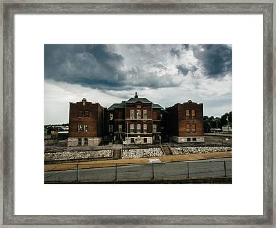 Old Abandoned School And Stormy Skies Framed Print by Dylan Murphy