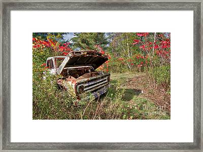 Framed Print featuring the photograph Old Abandoned Truck Newport New Hampshire by Edward Fielding