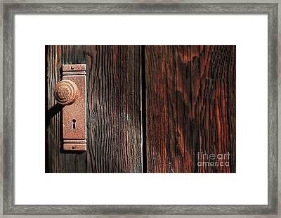 Old Amboy Grange Door  Framed Print