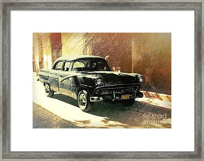 Old American Car Parked On The Street In Old Havana, Cuba Framed Print by Mikko Palonkorpi