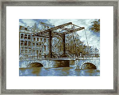Old Amsterdam Bridge - Dutch Blue Water Color Framed Print by Art America Gallery Peter Potter