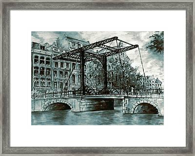 Old Amsterdam Bridge In Dutch Blue Water Colors Framed Print