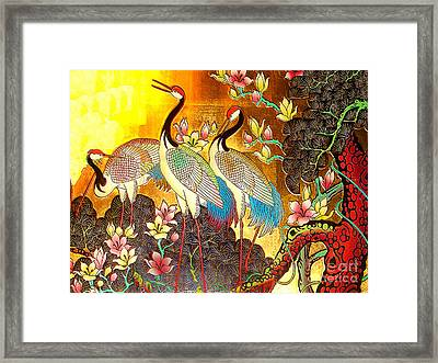Old Ancient Chinese Screen Painting - Cranes Framed Print by Merton Allen
