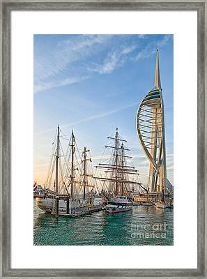 Old And New At Gunwharf Quays Framed Print
