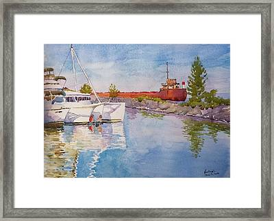 Old And New At Port Credit Framed Print