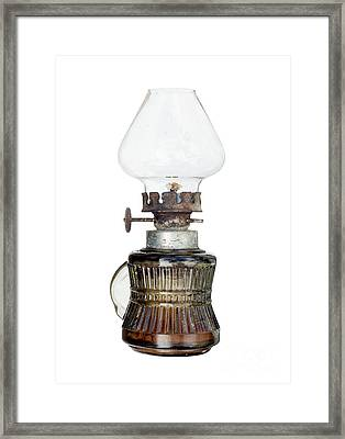 Old And Used Kerosene Lamp Framed Print