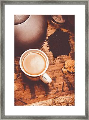 Old Artistic Vintage Tea Still Life Framed Print