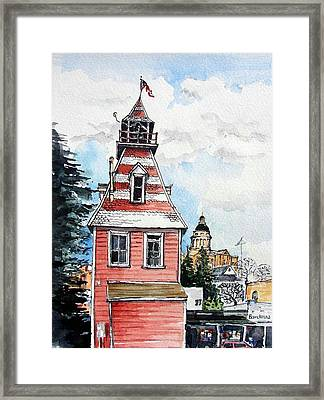 Framed Print featuring the painting Old Auburn Firehouse by Terry Banderas