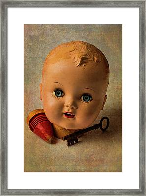 Old Baby Doll Head Framed Print by Garry Gay