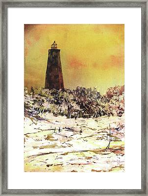 Framed Print featuring the painting Old Baldy Lighthouse- North Carolina by Ryan Fox