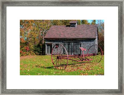 Old Barn And Rusty Farm Implement 02 Framed Print by Ken Morris