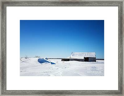 Old Barn And Snow Drifts Canada Framed Print by Jane Rix