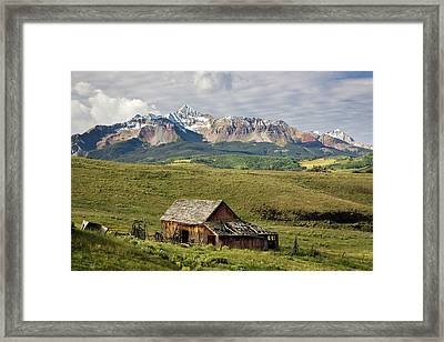 Old Barn And Wilson Peak Horizontal Framed Print