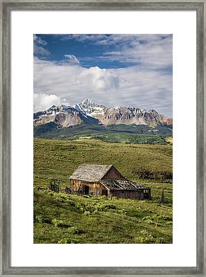 Old Barn And Wilson Peak Vertical Framed Print