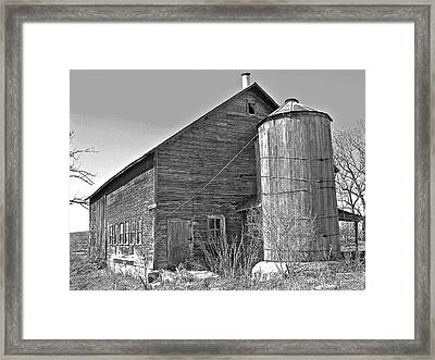 Old Barn And Wood Stave Silo Framed Print by Randy Rosenberger