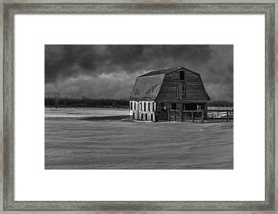 Old Barn At Sunset Black And White 2014-1 Framed Print by Thomas Young