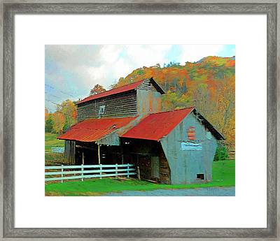 Old Barn In Autumn Wears Valley Framed Print by Rebecca Korpita