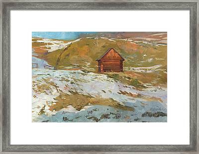 Old Barn In Bukovel Framed Print by Denis Chernov